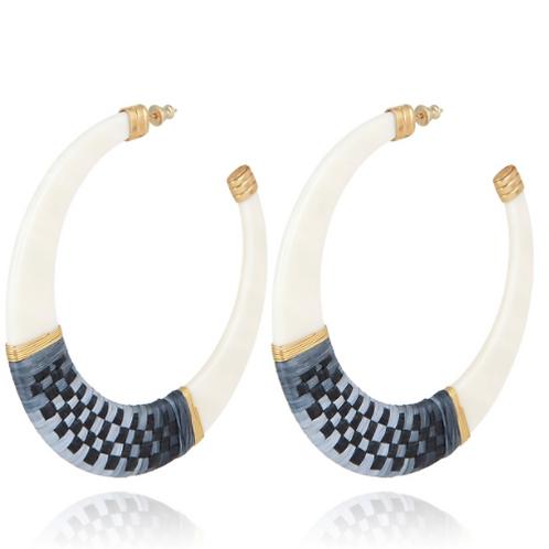 Boucles d'oreilles créoles Lodge raphia acétate or - Ivoire GAS bijoux
