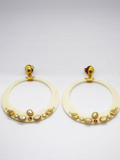 Boucles d'oreilles Lodge cabochons acétate or GAS bijoux