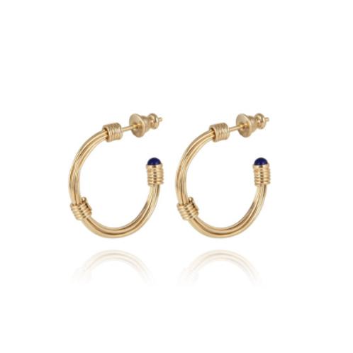 Boucles d'oreilles créoles Ariane cabochons mini or GAS bijoux