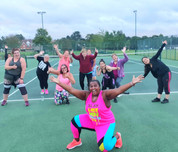 Zumba with Kat Henry in Master Park, Oxted, Surrey.