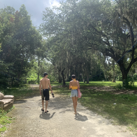 mia and blake going for a stroll
