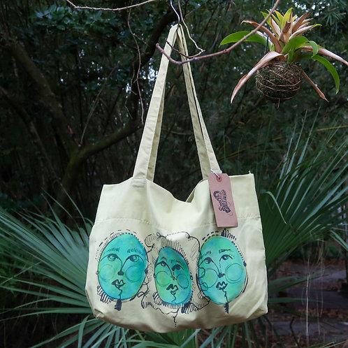 hand painted pillow case tote