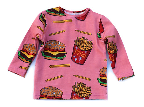 Long sleeved unisex burger and chips t-shirt