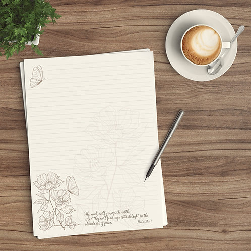 Letter Writing Paper - Digital Download - Peaceful Butterfly