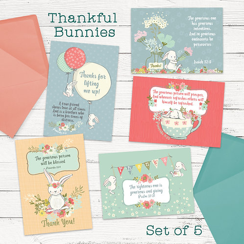 Thankful Bunnies - Pack of 5
