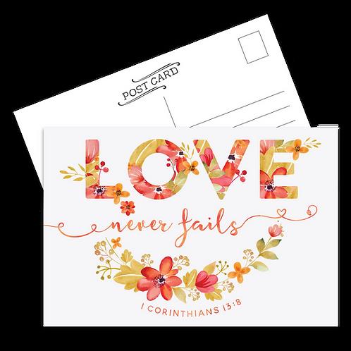 Love Never Fails Postcard