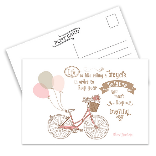Life is Like Riding a Bicycle Postcard