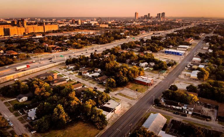An aerial image of the Historic Southside, Hillside, Morningside neighborhood