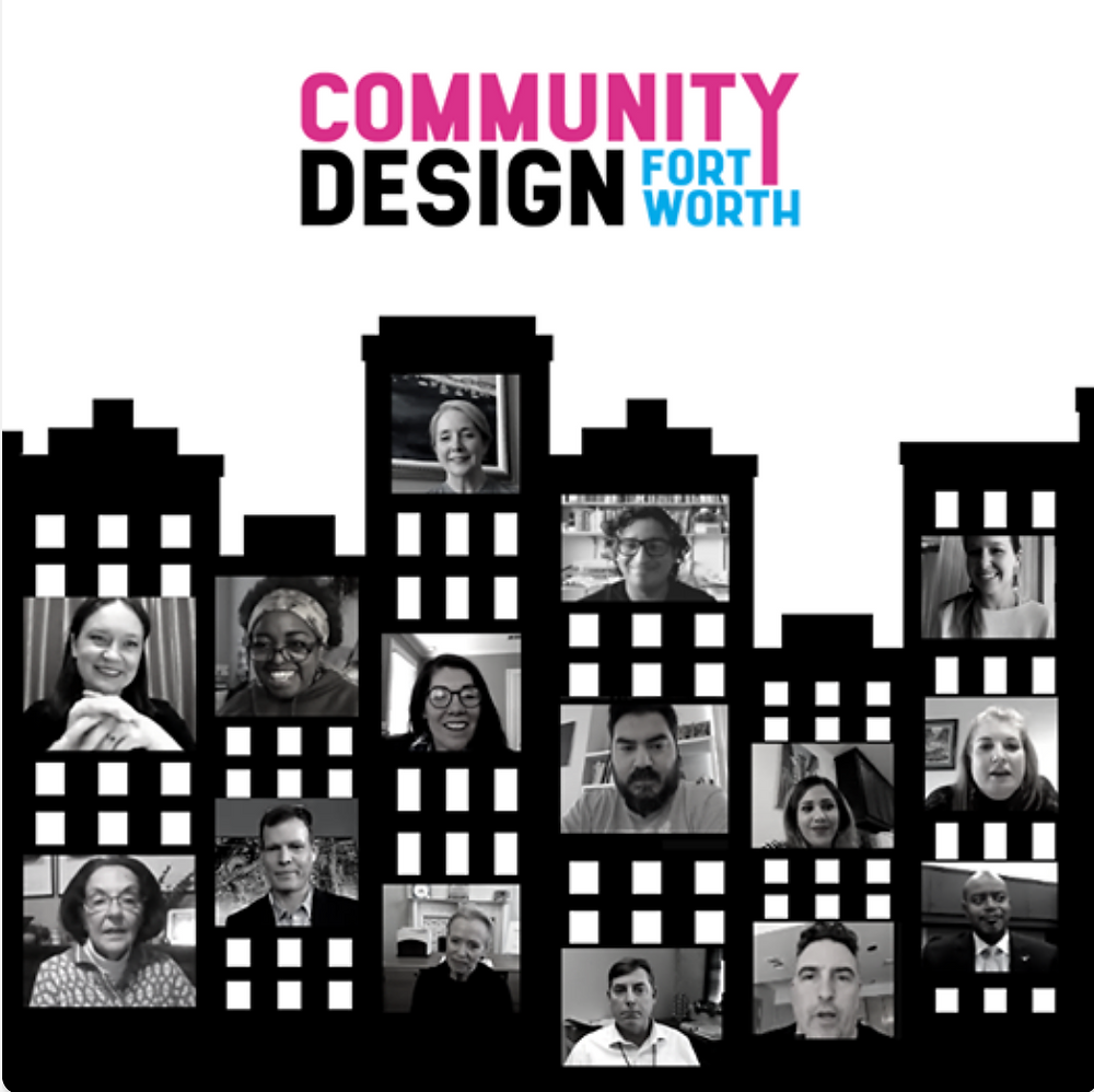 A graphic of a city skyline. In the windows are pictures of smiling people who attended the Community Meet & Greet event. The Community Design Fort Worth logo at the top