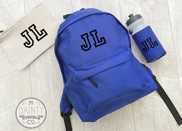 Varsity Initial Back to School Set Personalised Back Pack Bag for kid