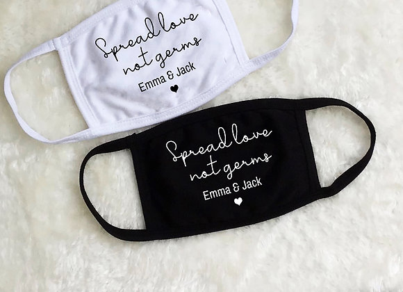 Spread Love Not GermWedding Face Covers