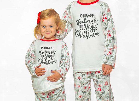 Personalised Believes in Magic of Christmas Pyjamas