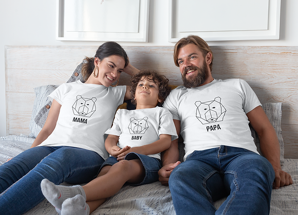 Mama Papa Baby Bear Matching Family T-Shirts