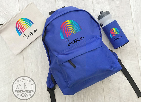 Back to School Set Personalised bag for kids Rainbow Positive Gift