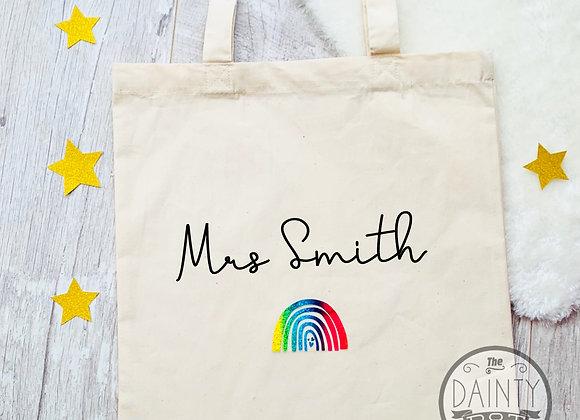 Personalised  Rainbow Teacher's Tote Gift
