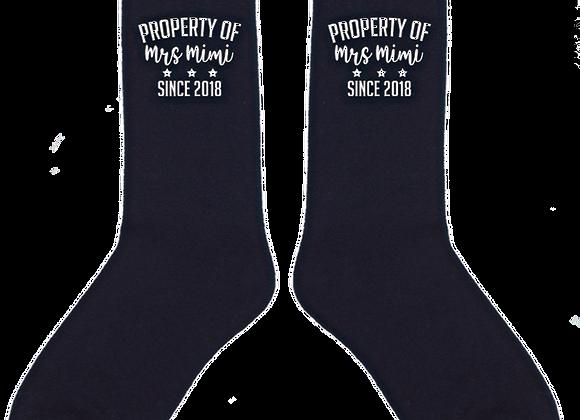Personalised  Property of Wedding Day Socks