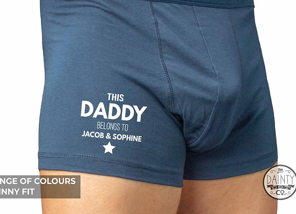 This Daddy Belongs to Personalised Boxer shorts- add your child name