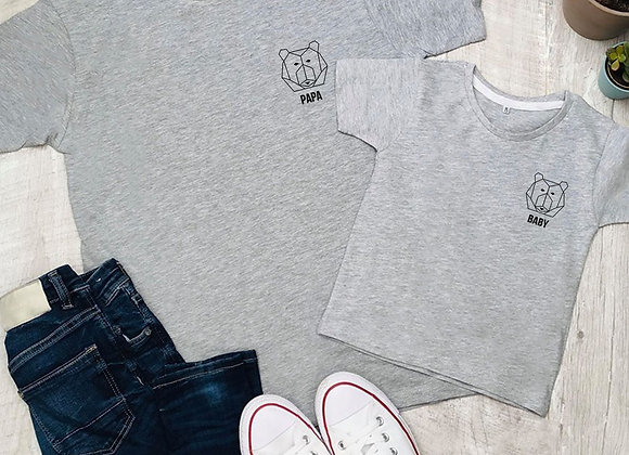 Daddy bear Baby Bear Father's Day  Grey T Shirt Tee TShirt