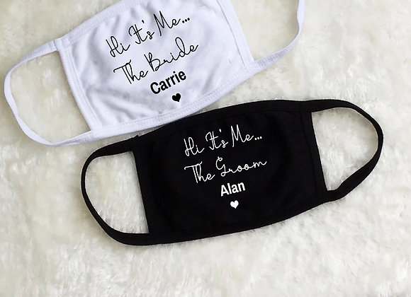 Mrs Mr Bride Groom Wedding Face Covers