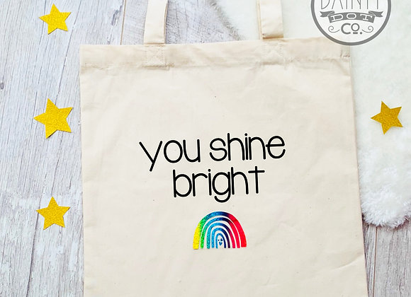 Personalised  Rainbow Motivational Tote Bag Gift