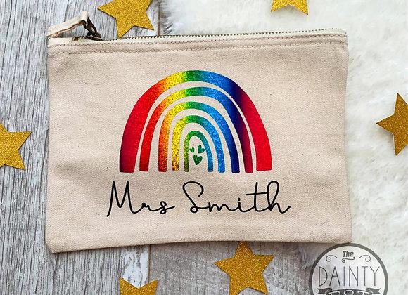 Personalised  Rainbow Teacher's Pencil Case Gift