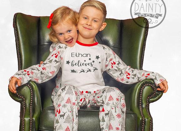 Personalised Believe in Santa Pyjamas