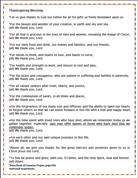 Thanksgiving and Holiday Prayer Card