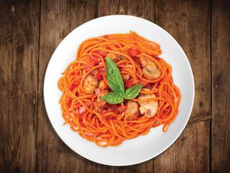 Veggie Spirals de Zanahoria en salsa de tomate y champiñones
