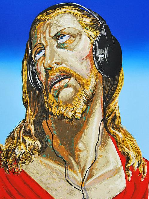 """Enrique Oroz, """"música celestial"""", serigrafía, 50 x 70 cm."""