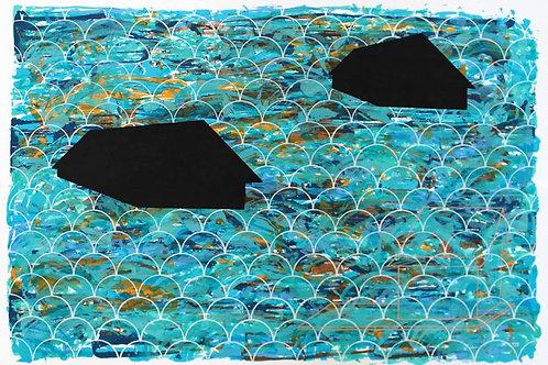 "Joao Rodríguez, ""Casas flotantes"", serigrafía, 2014, 70 x 50 cm"