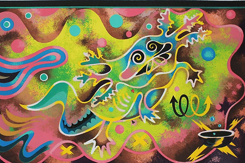Roberto Pulido, Mardi gras Axolotl, Serigrafía, 70 x 50cm