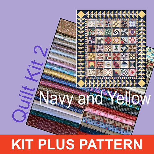 Lizzy Quilt Kit Colorway #2 - Navy/Yellow