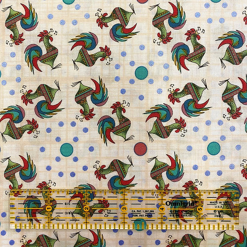 7.5 Yards Singing Roosters Cream