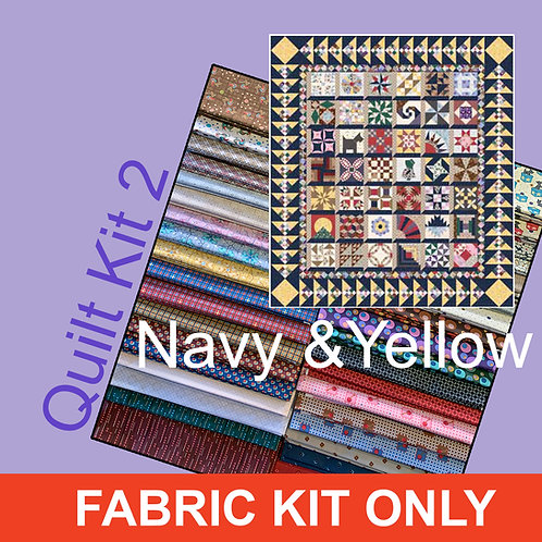 Lizzy Quilt Kit #2 Fabric Only Navy/Yellow