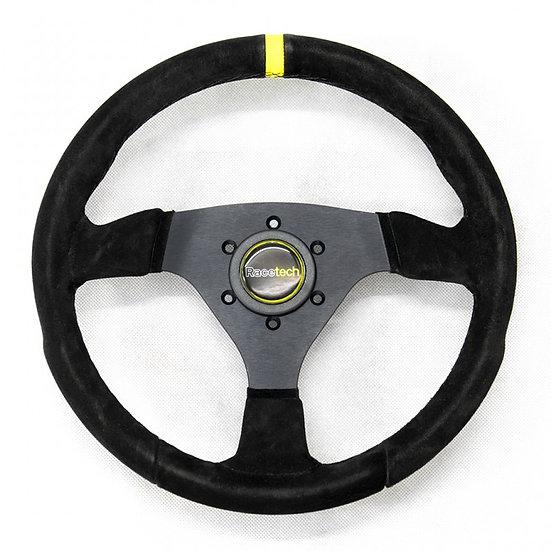 Flat Leather Steering Wheel, 350mm. Flat, Anatomical Grip 3 spoke