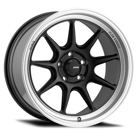 KONIG COUNTERGRAM 15x7.5 4X100 ET35 MATTE BLACK / MATTE MACHINED LIP