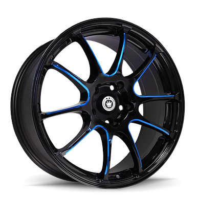 KONIG ILLUSION 17X7 5X114.3 ET40 Black/Ball Cut Blue