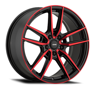 KONIG MYTH 16x7.5 5x114.3 ET43 GLOSS BLACK W/ RED TINTED CLEARCOAT
