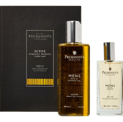 Pecksniff's England Active Grapefruit, Mandarin Mens Fragrance 2pc Gift Set