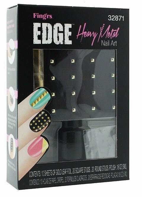 Fing'rs Edge Heavy Metal Nail Art Goldfoil Studs and Polish 32871