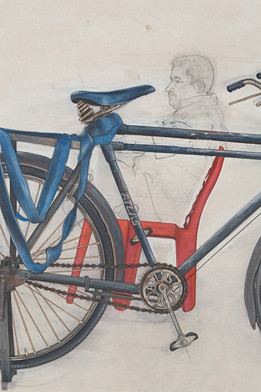 Bicycle in market detail.
