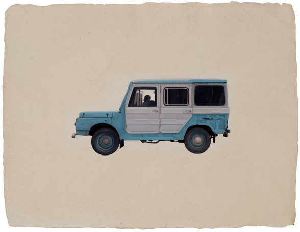 Pondy, the workers blue jeep.