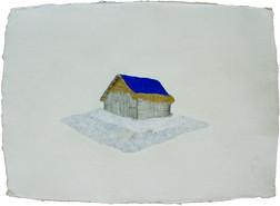 Blue house on silver carpet.