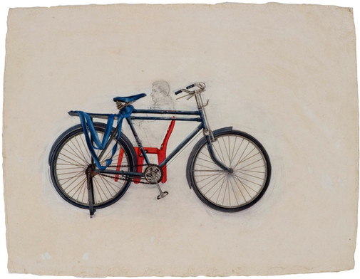 Bicycle in market.