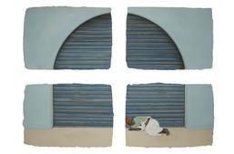 Man asleep near a shutter.
