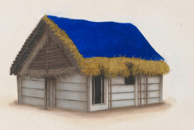 Blue and Golden house painting, detail I.