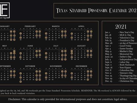 Standard Possession Order Calendar in Texas (2021)