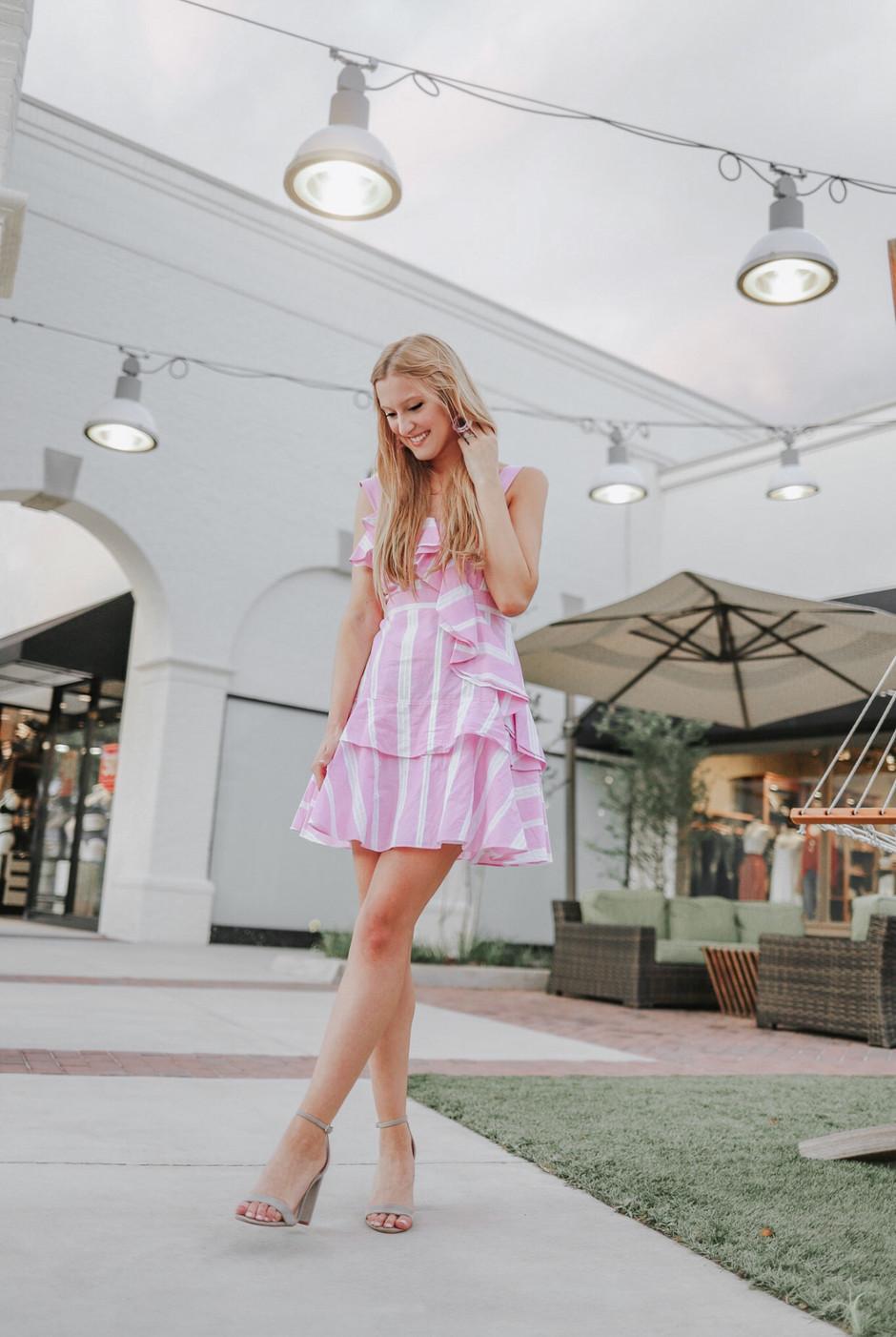Pink Striped Dress + Earrings