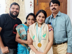 Smrithi Warrier bagged the first rank with gold medal in B.Com (CMR University, Bangalore)
