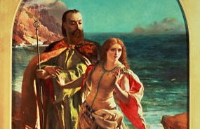 Miranda breaks away from Prospero. The sea is in the background.